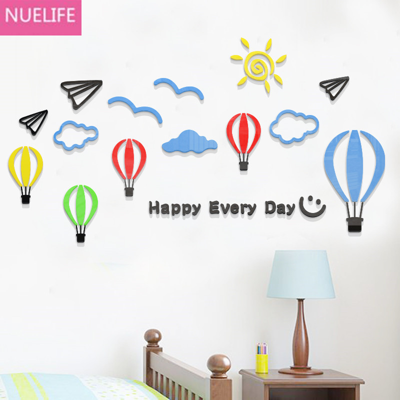 Blue sky paper airplane hot-air balloon 3D acrylic wall stickers kids room kindergarten living room decorative wall stickers image