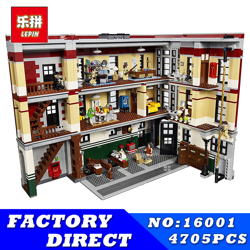 LEPIN 16001 4695Pcs Ghostbusters Firehouse Headquarters Model Building Blocks Bricks Model Kits Compatible 45827 Children Toys 4695pcs lepin 16001 city series firehouse headquarters house model building blocks compatible 75827 architecture toy to children