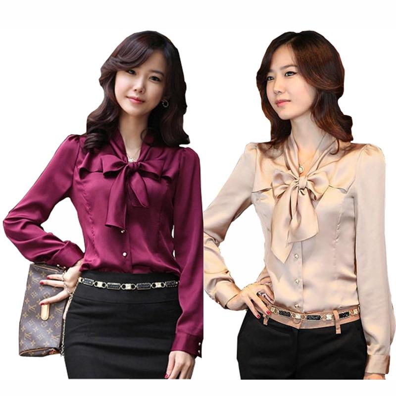 Bowtie Decor Lady Fashion Šifónová halenka Plus Velikost S-3XL Nové Korean OL Oblečení Elegantní Dámské Kariérní Košile