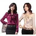 Bowtie Decoração Lady Moda Chiffon Blusa Plus Size S-3XL New Coreano OL Roupa Elegante Vestido Mulheres de Carreira Camisas