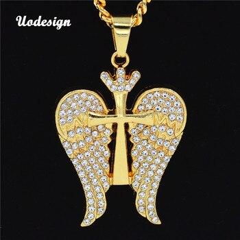 Uodesign HIP Hop Iced Out Bling Cruz y Ángel alas hombres colgantes  collares oro Color collar cristiano para hombres 0ccc6a84a29