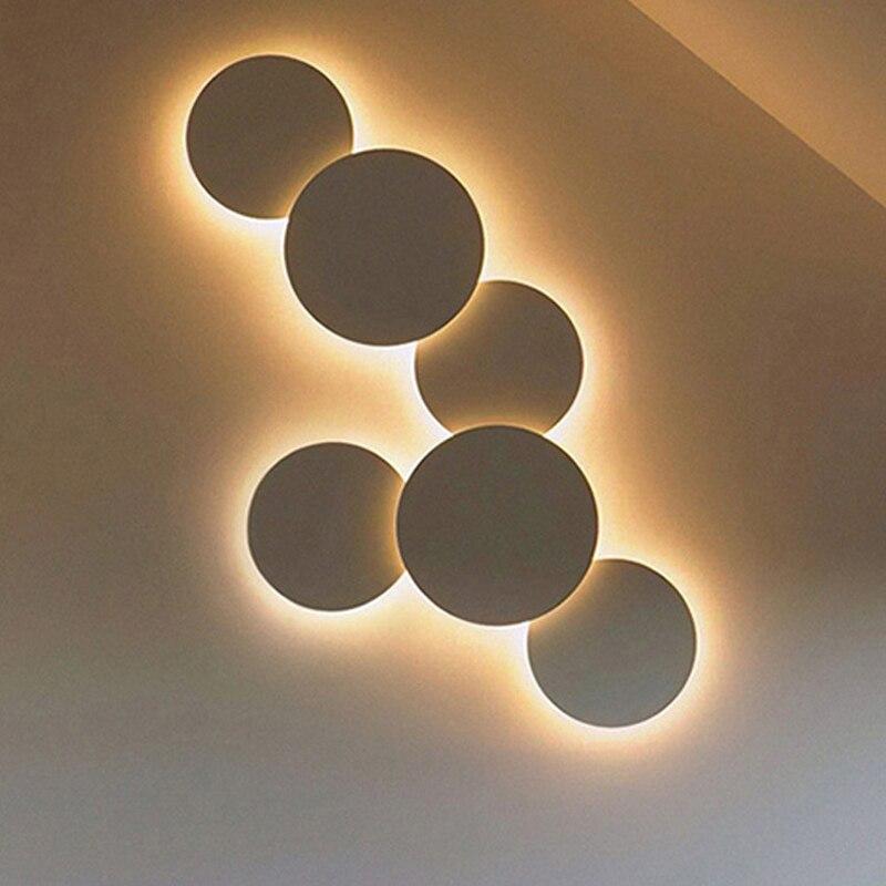 Nowoczesne kreatywne eclipse LED lampa sufitowa schody korytarz korytarz tło sypialnia nocne okrągłe lampy sufitowe do salonu|Oświetlenie sufitowe|   -
