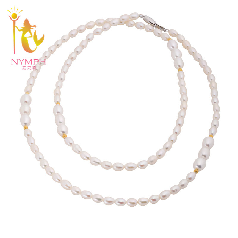 [NYMPH] Pearl Necklace Fine Pearl Jewelry Long Pearl Necklace Woman Natural Pearl Necklace X1216