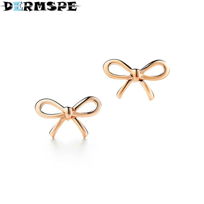 DERMSPE TIFF 925 Sterling Silver Jewelry Fashion Bow Earrings Fashion Ladies Elegant Rose Gold Earrings DIY Gift