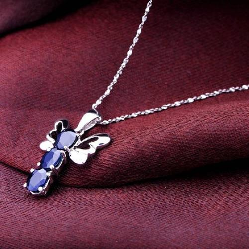 Ожерелье QI Xuan_Dark синий камень стрекоза кулон Necklace_Dark синий Necklace_Quality Guaranteed_Manufacturer непосредственно продаж