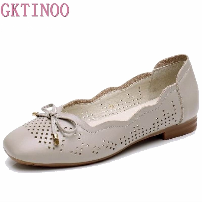 GKTINOO 2018 Summer Flats Shoes Women Ballerina Flat Shoes Genuine Leather Cut-out Moccasins Ladies Knot Loafers Mother Shoes