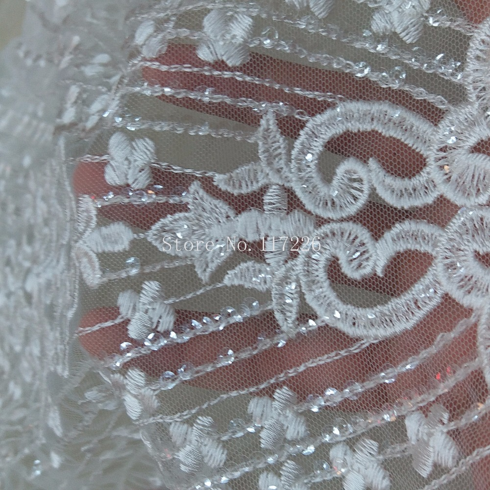 1m champagne tulle fabric gold pearl beaded  bridal Wedding fabric 44 wide