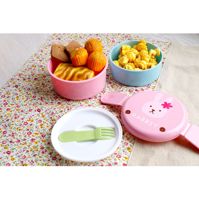 Mini Cartoon Animal Lunch Boxes Japanese Double Layer Round Lunch Case Children Microwave Kitchen Tools in Lunch Boxes from Home Garden
