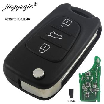 Jingyuqin dla Hyundai I20 I30 IX35 Avante 433Mhz ID46 Chip 3 przyciski odwróć składany pilot zdalnego sterowania samochodu tanie i dobre opinie CN (pochodzenie) 433HMz For Hyundai Key Remote Control ABS + Metal + Circuit board China