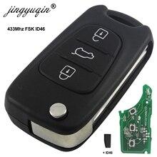 Jingyuqin 현대 i20 i30 ix35 avante 433 mhz id46 칩 3 버튼 플립 접이식 자동차 원격 키 fob