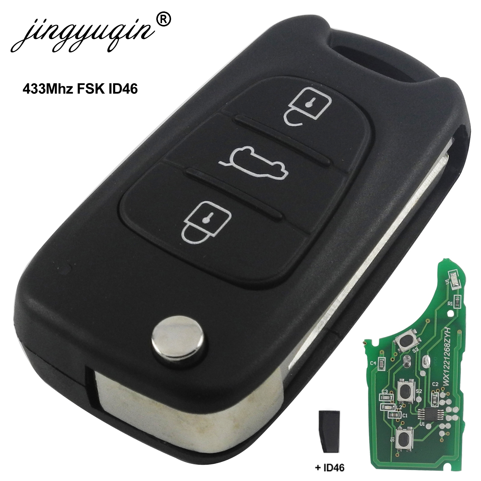 Jingyuqin para hyundai i20 i30 ix35 avante 433 mhz id46 chip 3 botões flip dobrável carro remoto chave fob