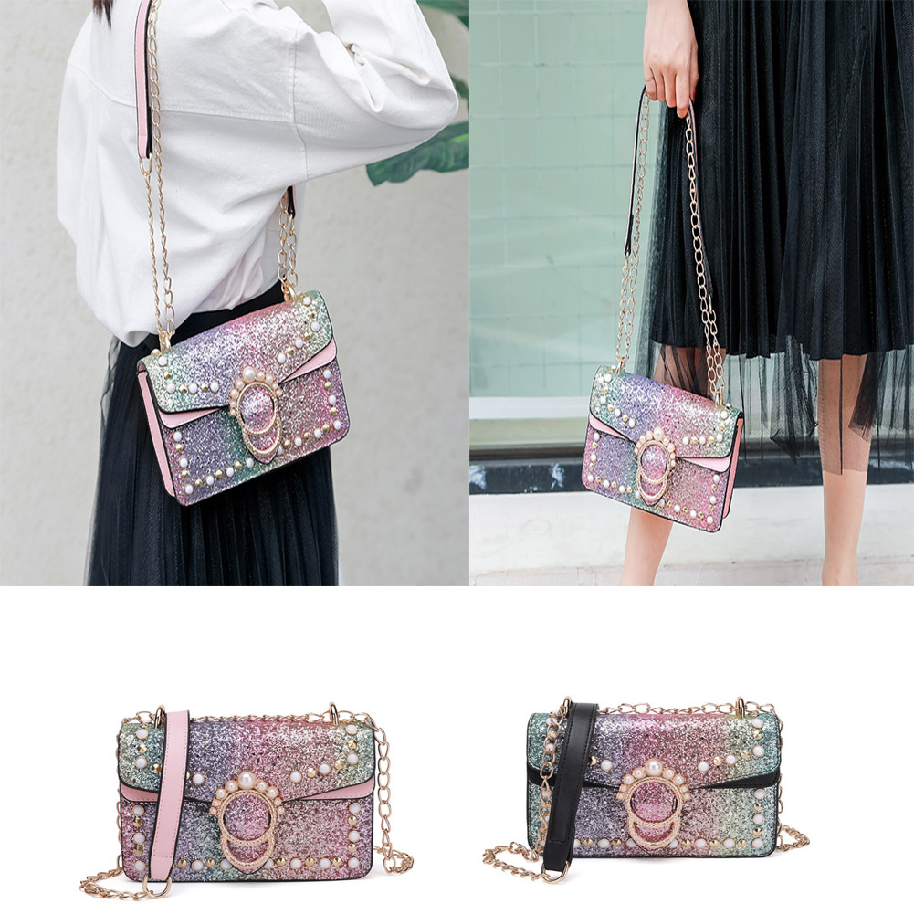 Luxury Brand Women Messenge bags Small Pearl Crossbody Bag pink Bling Sequins Chains Shoulder Bags Glitter Handbags Clutches цена