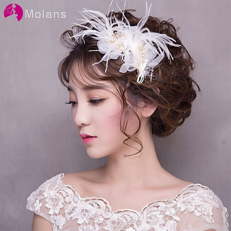 MOLANS 1PC Ancient Artistic White Yarn Flower Hairpin For Bridal Wedding Headpiece Muticolor Feather Pearl Hairpin For Women