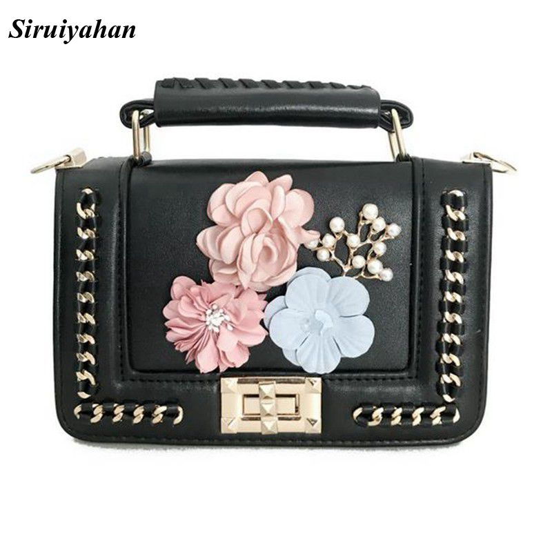 Siruiyahan Fashion Brands Women Leather Handbags Women Shoulder Bag for Teenage Girls Flap Bag Leather with Floral Chain Bolsas in Shoulder Bags from Luggage Bags