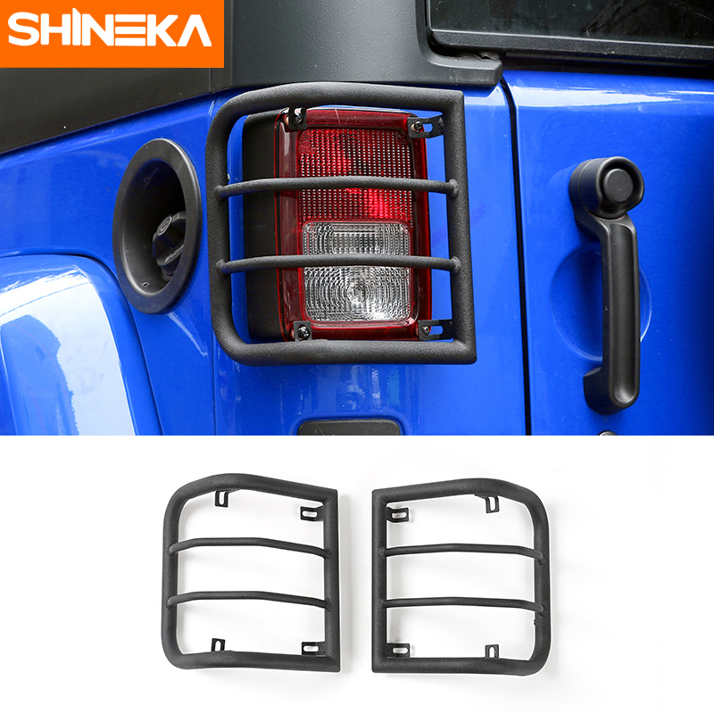 SHINEKA 4x4 Offroad Metal Tail Light Guards Rear Lamp Cover for Jeep Wrangler JK 2007+ Car Accessories car styling top mount hardtop rear grab handle bar front rear interior parts metal for jeep wrangler 2007 later