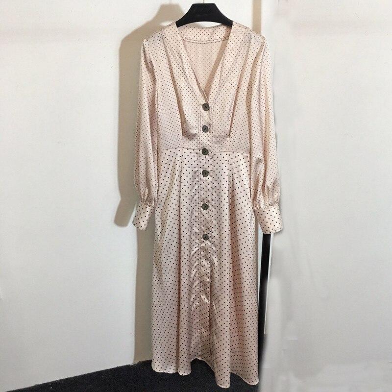 Модное дизайнерское платье с длинным рукавом Женские винтажные платья в горошек с v образным вырезом и внешние кнопки