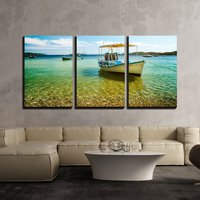 3 Piece Canvas Wall Art Colorful Boat in Skiathos Island Greece Modern Home Decor Stretched and No Framed Panels
