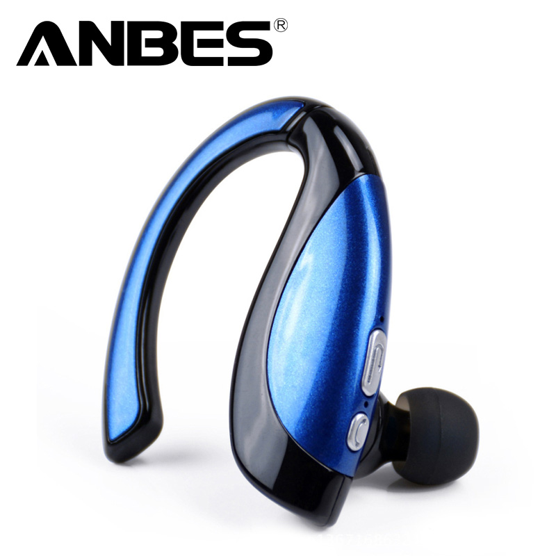ANBES Bluetooth Wireless Headset Ear Hooks Earphones Noise Cancelling In-ear Earbuds with Mic for iPhone Android new bluetooth mini bh320 earphones universal noise cancelling bluetooth headset with ear hook for samsung all blutooth phones