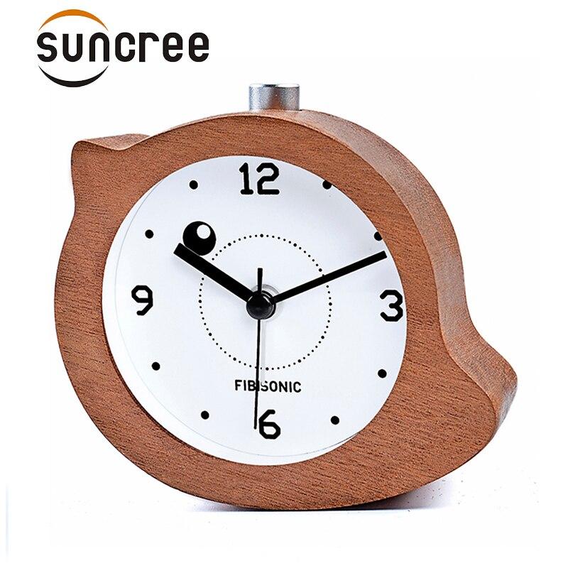 Bird Modern Snooze Sweep Movement Backlight Wood Alarm Clock For Gift Wooden Desktop Table Alarm Clocks Saat Despertador