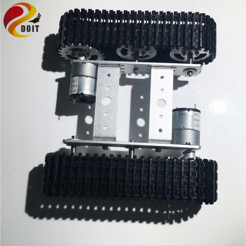 DOIT Metal Tracked Tank Chassis mini T100 Tracked Vehicle Smart Car with 2 Motor for Robot Competition Graduation Design DIY RC diy tracked robot frame model 7 dof abb manipulator tk3a tracked chassis with motor servo control board and xd 229 auno r3