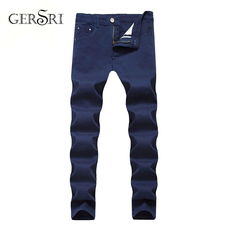 Gersri Light Jeans Men Male Straight Fit Pants Classic Jeans Men Denim Elasticity Fashion Trousers Thin Pants Plus Size Jeans