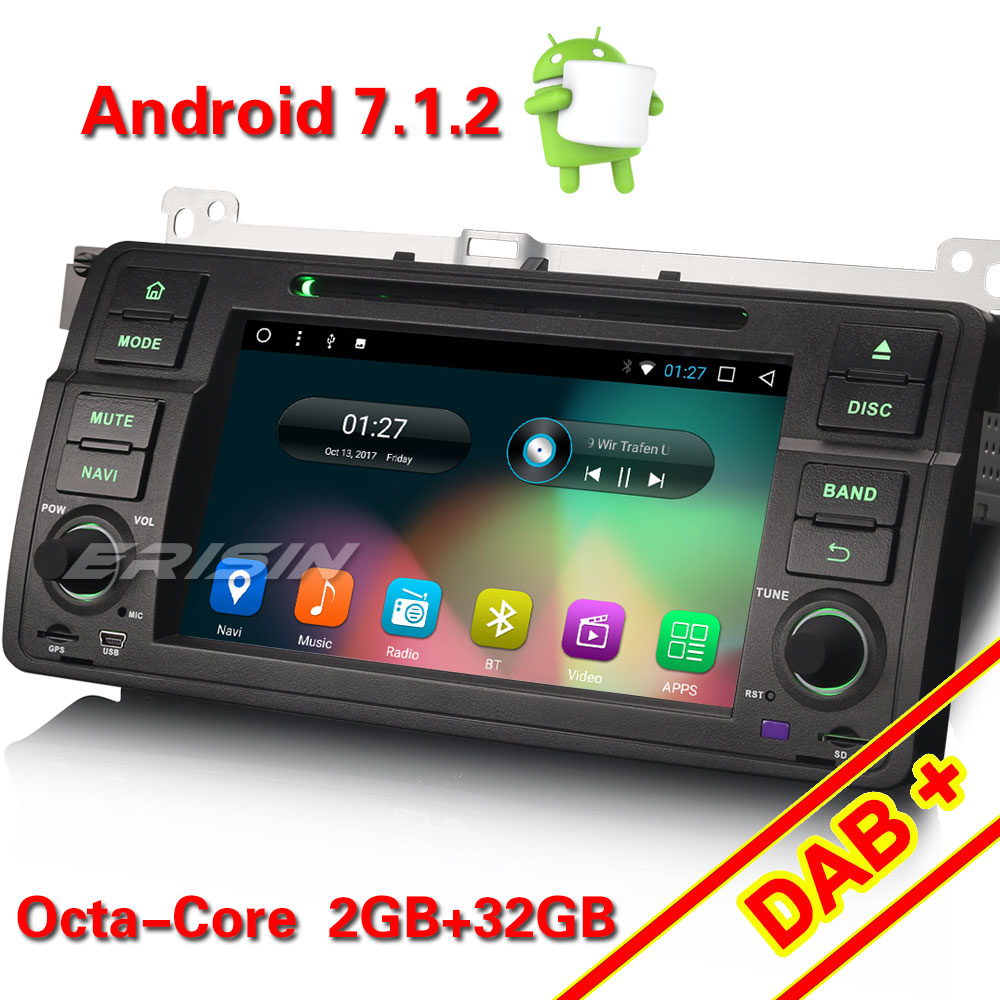 erisin es5485b 7 inch android 7 1 2 octa core car dvd. Black Bedroom Furniture Sets. Home Design Ideas
