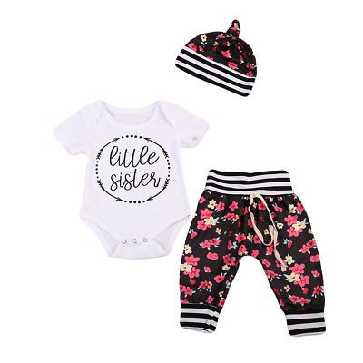 Cute Infant Toddler Baby Girls Letters Short Sleeve Bodysuit Romper+Floral Long Pants+Hat Outfits Summer Cotton Clothes Set 3pc