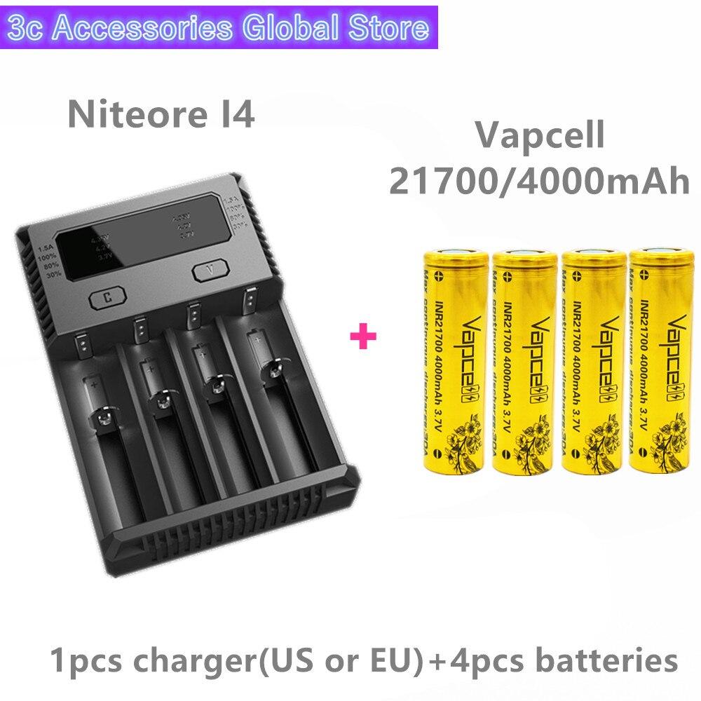 Vapcell 4 pièces INR 21700 4000 mAh 30A li-ion batterie rechargeable avec Nitecore nouveau I4 Digi chargeur LCD Intelligent pour fumée E-CIG