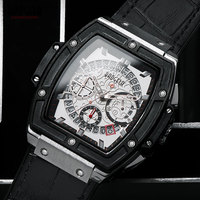 BAOGELA Men's Leather Strap Chronograph Quartz Wrist Watches Luminous Waterproof Sports Clock Relogios Masculinos 1703White