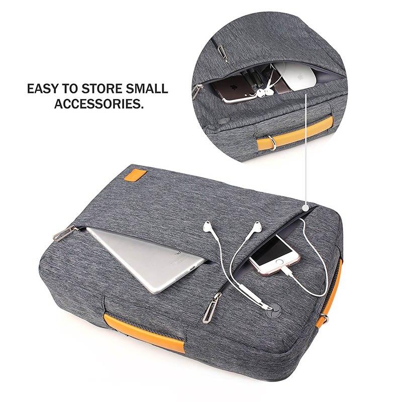 Gearmax portátil mochilas para 15,6 de 17,3 pulgadas/azul/Color gris de lona impermeable Mochila De Cuero genuino de la bolsa para Macbook portátil - 6