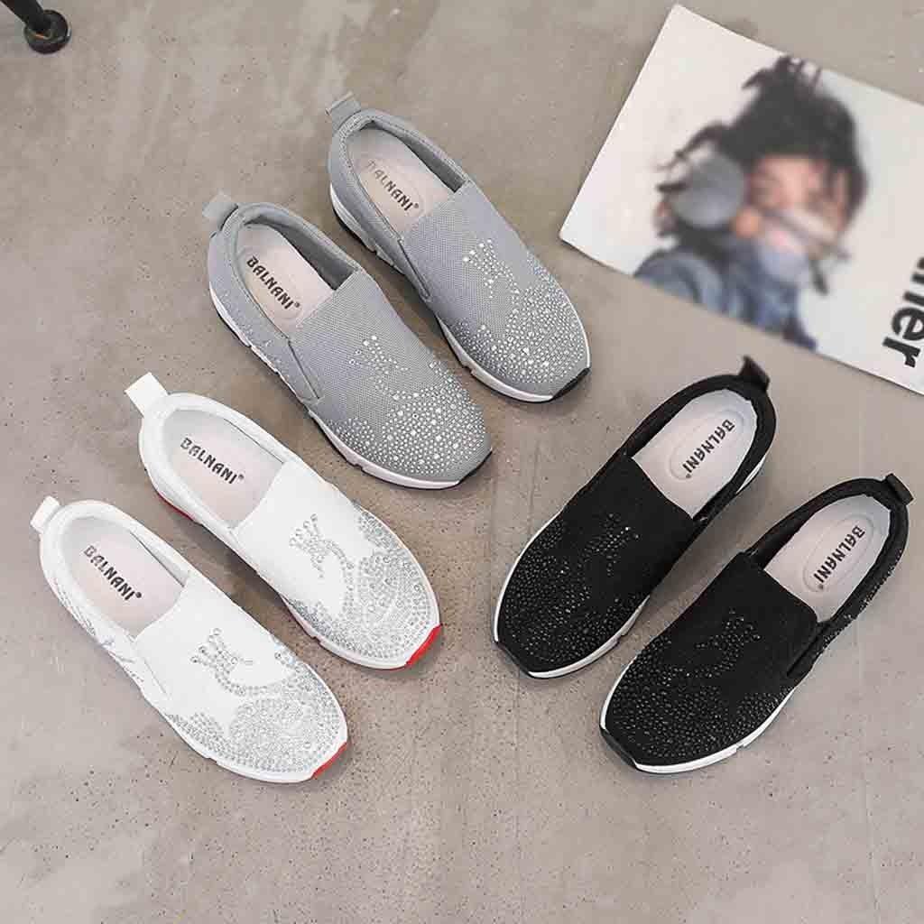 Chaussures Strass Augmenté Mujer Respirant Wedge Noir Talon Dames Femmes gris De Zapatos Voyage blanc Casual Femme ITTwpqxf