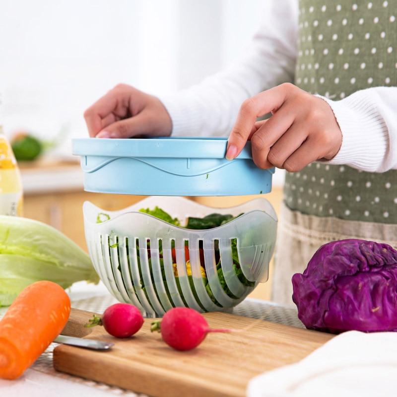 OnnPnnQ 60 Secondes Coupe de Salade Bol Multifonction Forme Facile Salade Maker Fruits Légumes Chopper Bol Cuisine Accessoires