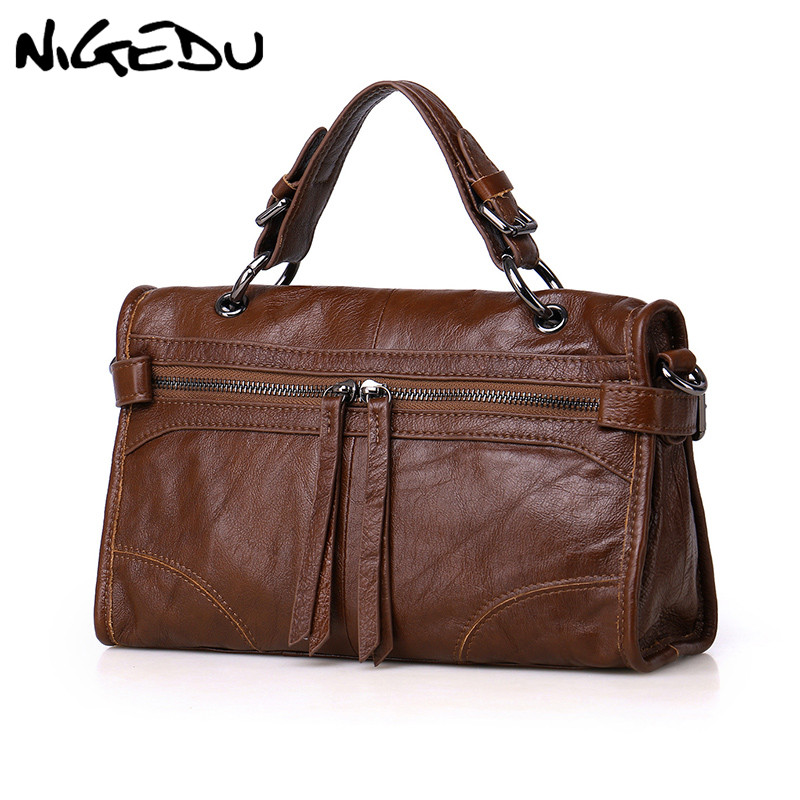 NIGEDU bag ladies Genuine Leather Women Handbag Famous Brand Female Crossbody bag Cowhide Design Shoulder Bag lady Totes bolsa 2018 novelty genuine leather box shape crossbody bag for women small black cowhide one shoulder bag lady unique design handbag
