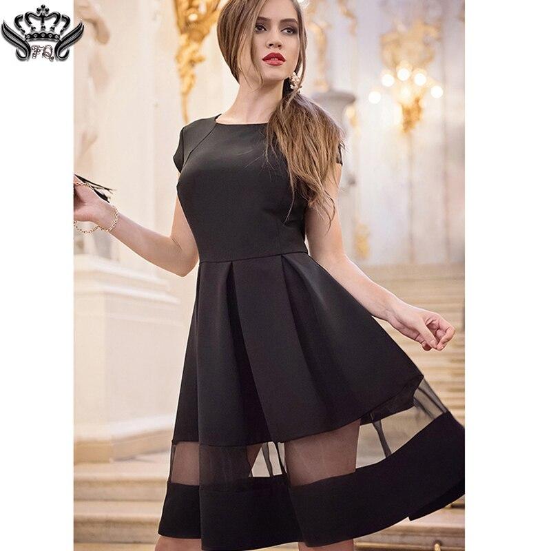 Summer Chiffon Dresses Knee Length Black Short Sleeve Dress Ball Gown Casual Little Black Short Mini Flare Dress for women 2016