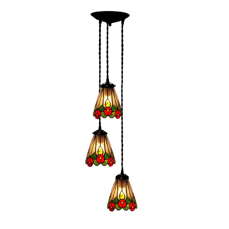 Rustic Stained Glass Three Hanglamp Chandelier Farmhouse ...
