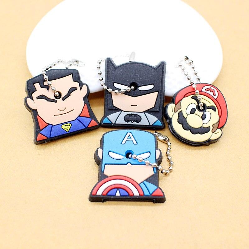 cute super hero Silicone Cartoon Key Cover batman spiderman Keychain face mario Pendant captain Key Chain porte clef for women