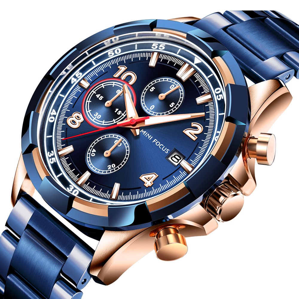 2019 NEW HOT Fashion Man Sports Watch 3D Blue Rose Gold Chrono 3 Dials Top Brand Luxury Men Stainless Steel Luminous Wristwatch