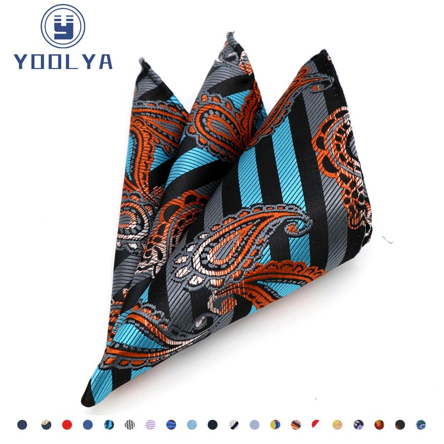 Fashion Men's 100% Silk Handkerchief Hanky Man Paisley Floral Jacquard Pocket Square 25*25cm For Normal Business Wedding Party