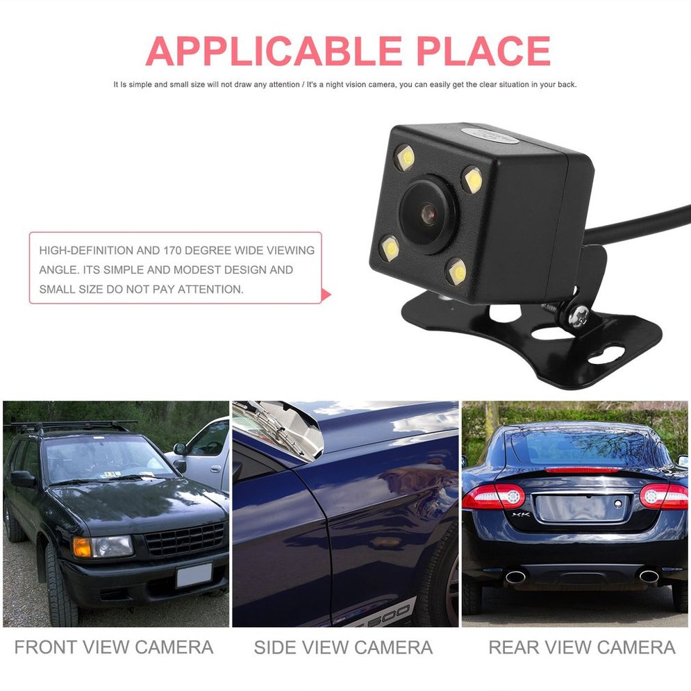 Professional 2.4G Wireless Transmitter & Receiver Adapter + Waterproof 4 LED Light Rear View Camera Easy Installation