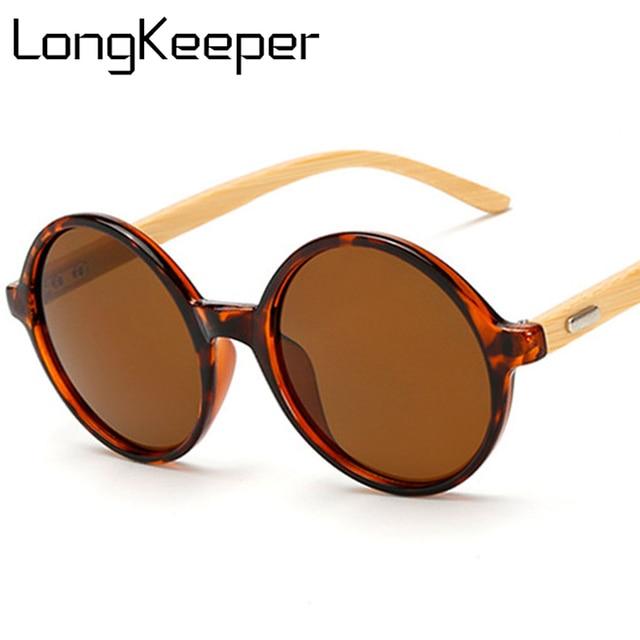 b786fea5b7 Gafas de sol redondas LongKeeper bambú mujeres hombres gafas de sol Pie de  madera Real Retro