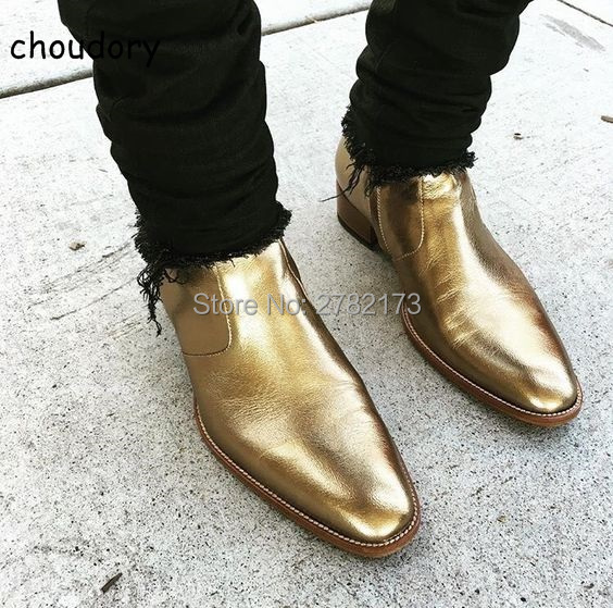 Autumn Winter Black Gold Leather Chelsea Ankle Boots European Design Man Chelsea Buckle Boots Dress Metal Chain Short Boots