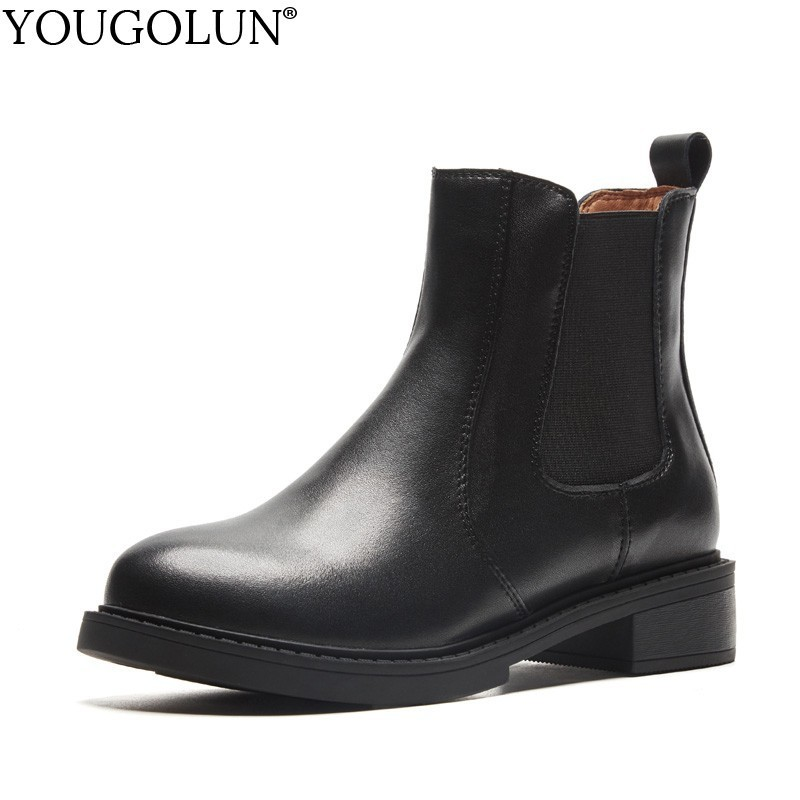YOUGOLUN Genuine Leather Chelsea Ankle Boots For Women Lady Winter Autumn Low Square Heels Woman Round Toe Black Shoes #B199 krshdcam cctv security 1080p ahd camera 4 in 1 bullet camera 3 6mm lens waterproof ip66 outdoor video surveillance night vision