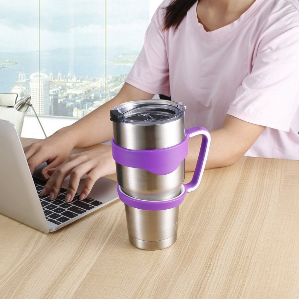 2 PCS Water Bottle Mugs Cup <font><b>Handle</b></font> for <font><b>YETI</b></font> <font><b>30</b></font> <font><b>Oz</b></font> Tumbler <font><b>Rambler</b></font> Cup Hand Holder Stainless Steel Insulated Mug <font><b>Handle</b></font> Drop