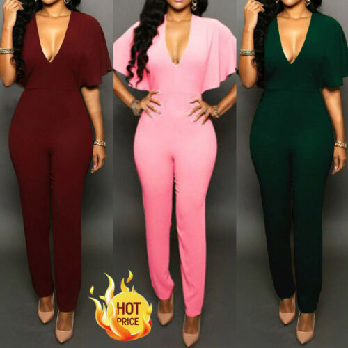 2020 Women V Neck Clubwear Playsuit Casual Short Sleeve Party Jumpsuit&Rompe