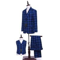 Royal Blue Plaid Men Wedding Suits Groom Tuxedo Bridegroom Business Formal Suits (Jacket + pants + vest) Custom Made