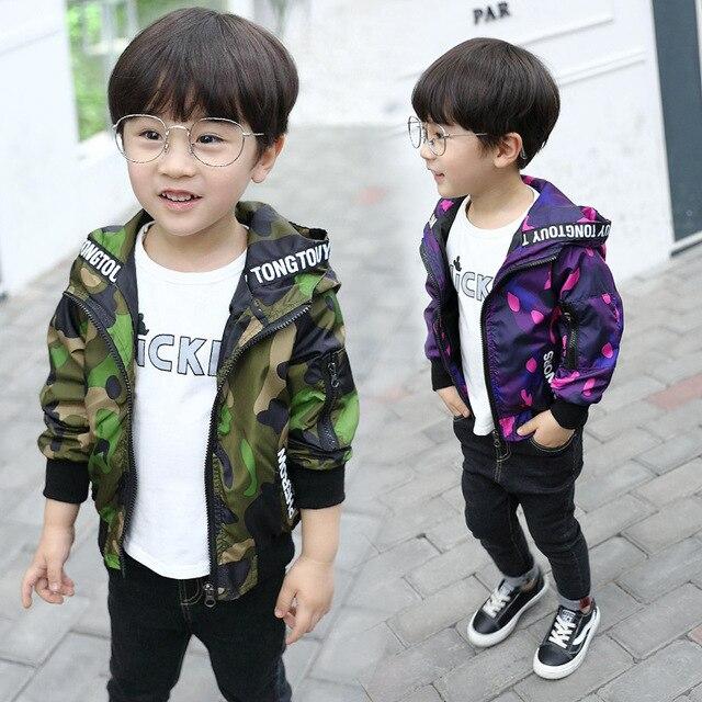 Толстовки дети 2018 для маленьких мальчиков Камуфляж детская куртка Весенняя детская Курточка бомбер для Обувь для мальчиков Бейсбол пальто для девочек верхняя одежда