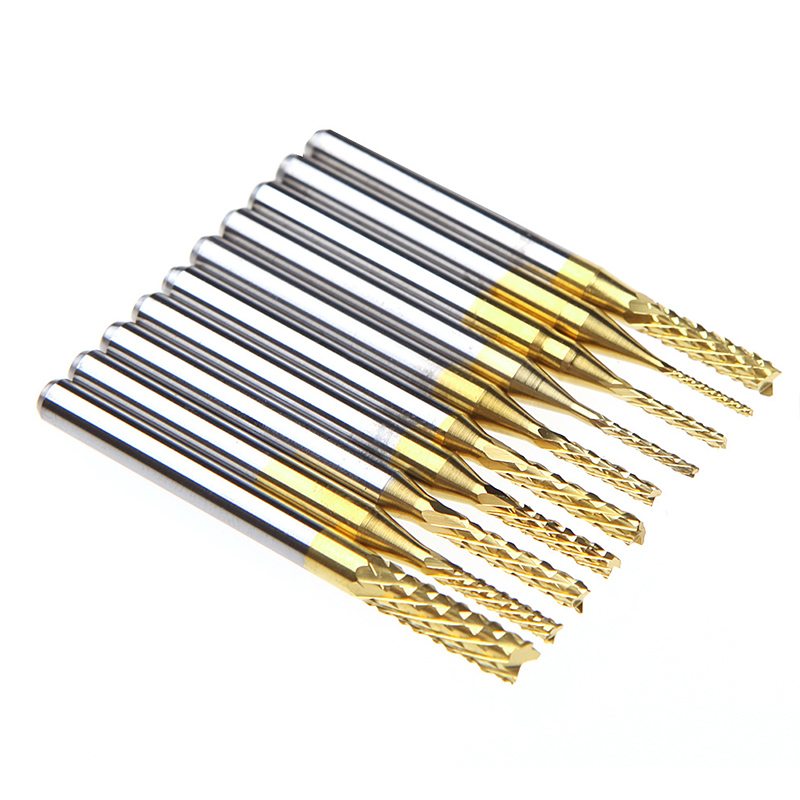 10pcs 1/8'' 0.8-3.175mm PCB Drill Bits Engraving Cutter CNC End Mill Tool Set For Power Tool 10pcs box 1 8 inch 0 8 3 17mm pcb engraving cutter rotary cnc end mill 0 8 1 0 1 2 1 4 1 6 1 8 2 0 2 2 2 4 3 17mm