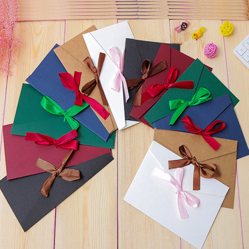 DHL Free Shipping,300 PCS Bowknot Envelope For VIP Cards, Message Cards Packing