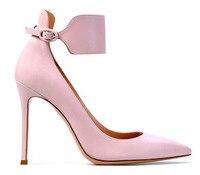 Femmes gracieuse rose violet gris en cuir suédé chaussures à talons hauts bout pointu large bride à la cheville robe pompes boucle chaussures livraison le bateau