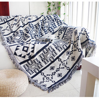 100 Cotton Threads Bohemia Sofa Blanket White And Blue Tapestry Sofa Cover Living Room Bedspread Rug